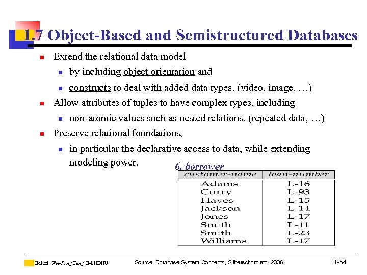 1. 7 Object-Based and Semistructured Databases n Extend the relational data model n by