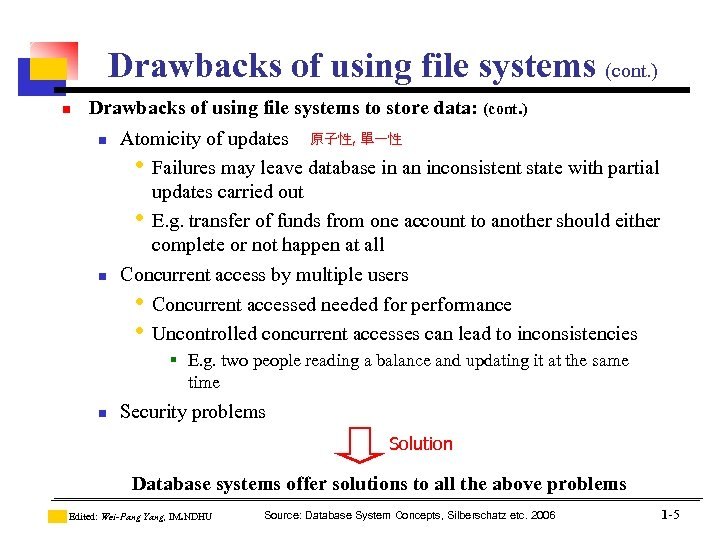 Drawbacks of using file systems (cont. ) n Drawbacks of using file systems to