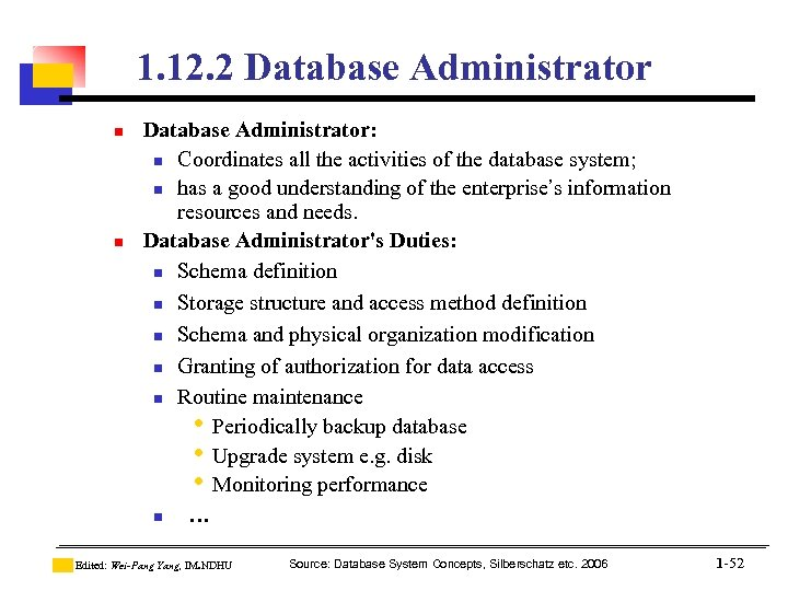 1. 12. 2 Database Administrator n n Database Administrator: n Coordinates all the activities
