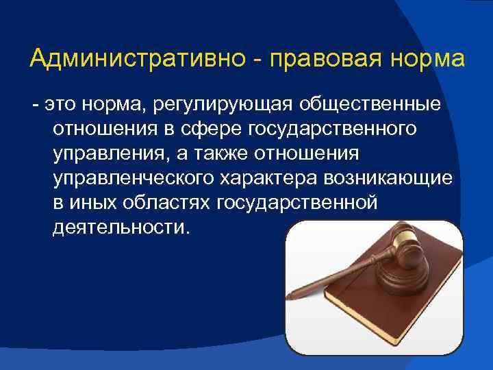 Административно правовая норма это норма, регулирующая общественные отношения в сфере государственного управления, а также