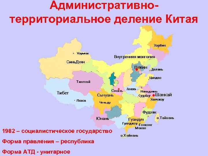 Административнотерриториальное деление Китая 1982 – социалистическое государство Форма правления – республика Форма АТД -