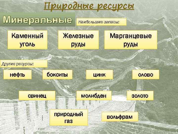 Природные ресурсы Минеральные Наибольшие запасы: : Каменный Железные Марганцевые уголь руды Другие ресурсы: нефть
