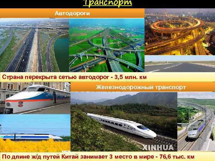 Транспорт Автодороги Страна перекрыта сетью автодорог - 3, 5 млн. км Железнодорожный транспорт По