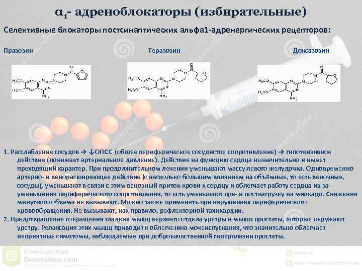 α 1 - адреноблокаторы (избирательные) Селективные блокаторы постсинаптических альфа 1 -адренергических рецепторов: Празозин Теразозин