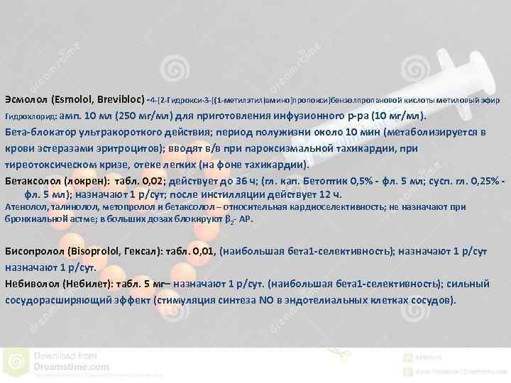 Эсмолол (Esmolol, Brevibloc) -4 -[2 -Гидрокси-3 -[(1 -метилэтил)амино]пропокси]бензолпропановой кислоты метиловый эфир Гидрохлорид: амп. 10