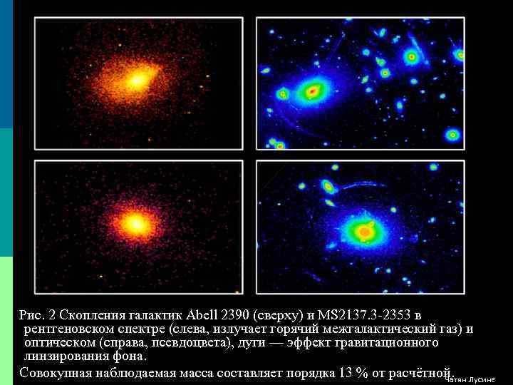 Рис. 2 Скопления галактик Abell 2390 (сверху) и MS 2137. 3 -2353 в рентгеновском