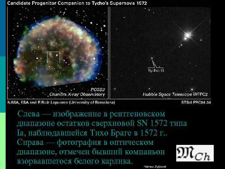 Слева — изображение в рентгеновском диапазоне остатков сверхновой SN 1572 типа Ia, наблюдавшейся Тихо