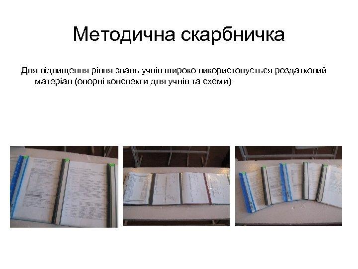 Методична скарбничка Для підвищення рівня знань учнів широко використовується роздатковий матеріал (опорні конспекти для