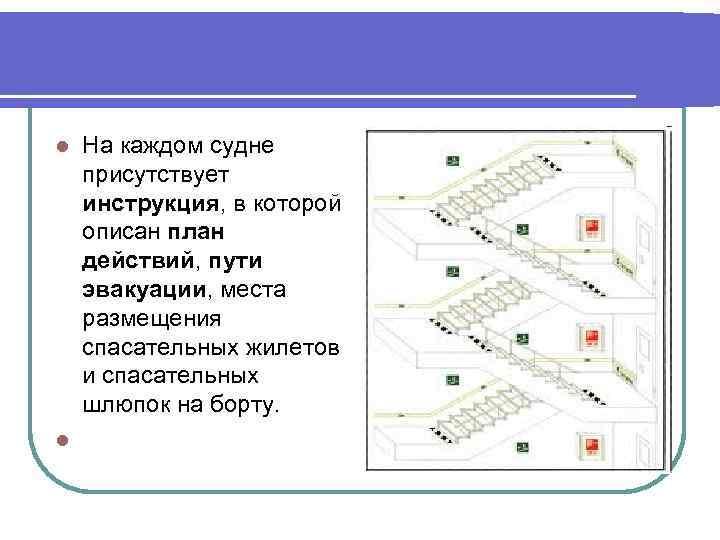 На каждом судне присутствует инструкция, в которой описан план действий, пути эвакуации, места размещения