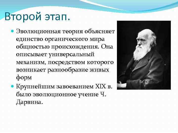 Второй этап. Эволюционная теория объясняет единство органического мира общностью происхождения. Она описывает универсальный механизм,