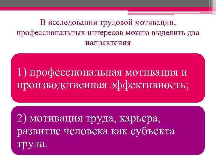 В исследовании трудовой мотивации, профессиональных интересов можно выделить два направления 1) профессиональная мотивация и