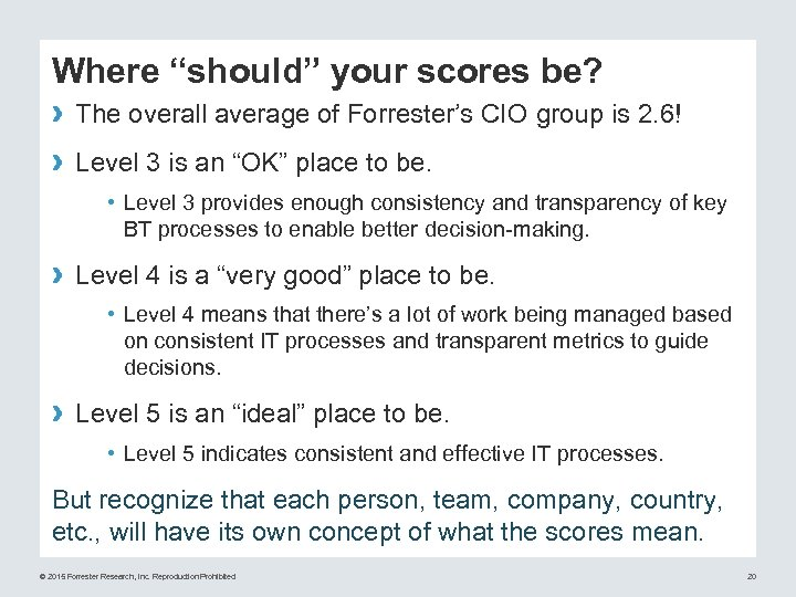 "Where ""should"" your scores be? › The overall average of Forrester's CIO group is"