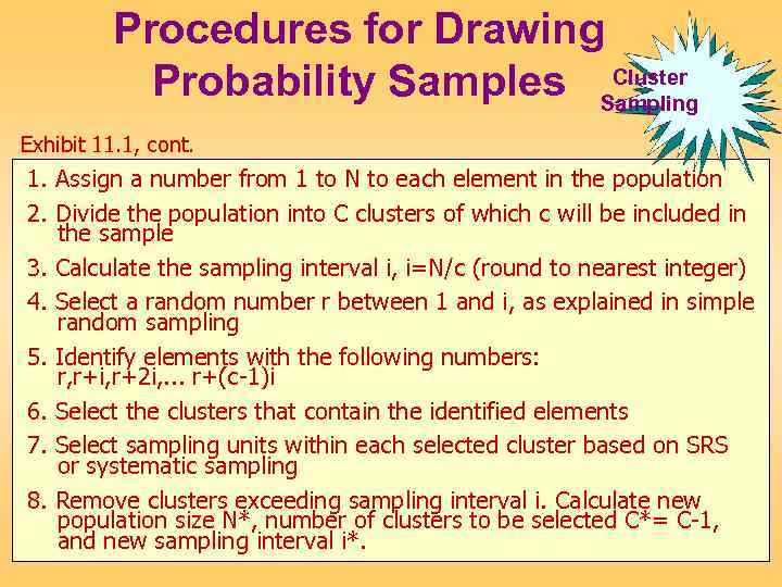 Procedures for Drawing Cluster Probability Samples Sampling Exhibit 11. 1, cont. 1. Assign a