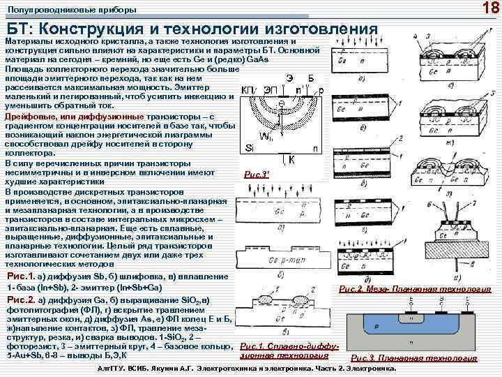 18 Полупроводниковые приборы БТ: Конструкция и технологии изготовления Материалы исходного кристалла, а также технология