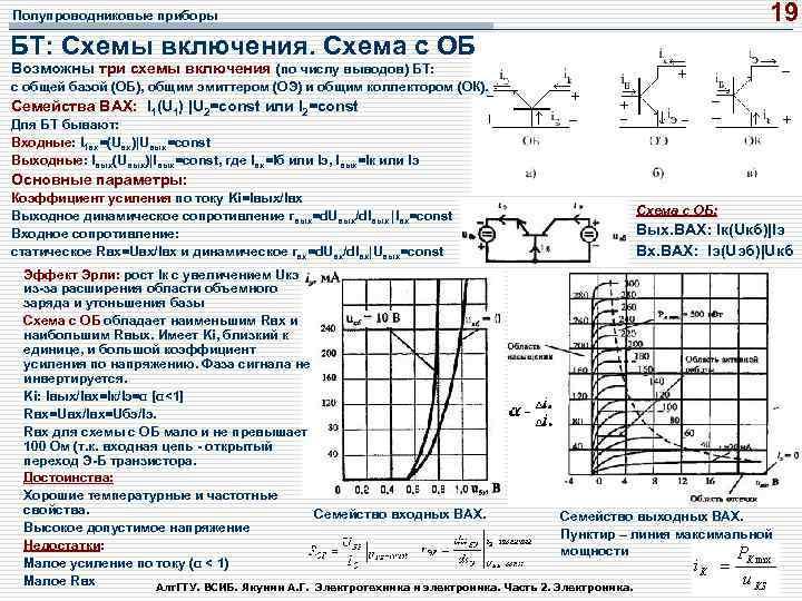 19 Полупроводниковые приборы БТ: Схемы включения. Схема с ОБ Возможны три схемы включения (по