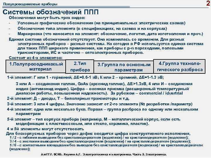 2 Полупроводниковые приборы Системы обозначений ППП Обозначения могут быть трех видов: Условные графические обозначения