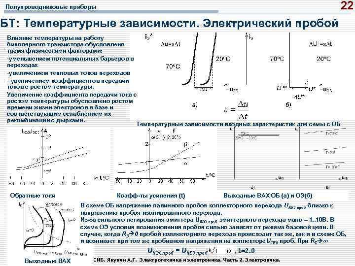 22 Полупроводниковые приборы БТ: Температурные зависимости. Электрический пробой Влияние температуры на работу биполярного транзистора