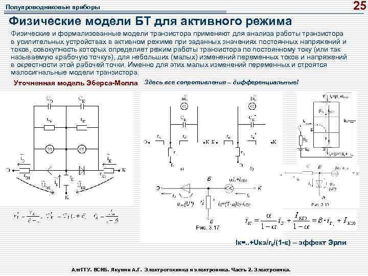 25 Полупроводниковые приборы Физические модели БТ для активного режима Физические и формализованные модели транзистора