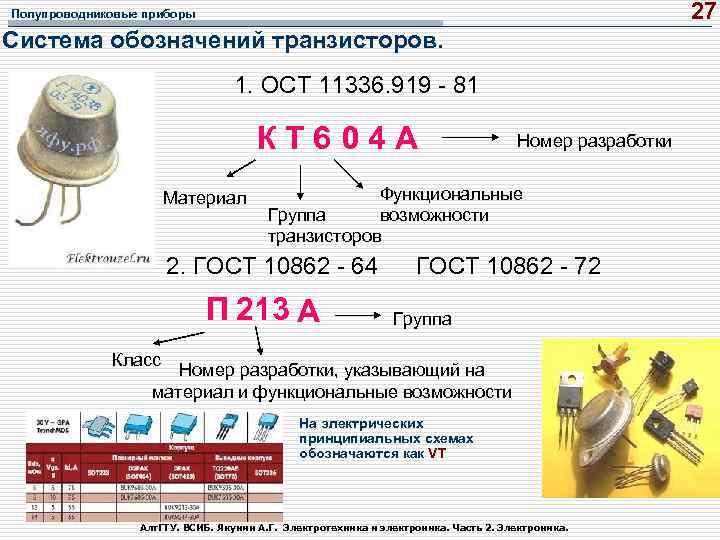27 Полупроводниковые приборы Система обозначений транзисторов. 1. ОСТ 11336. 919 - 81 К Т