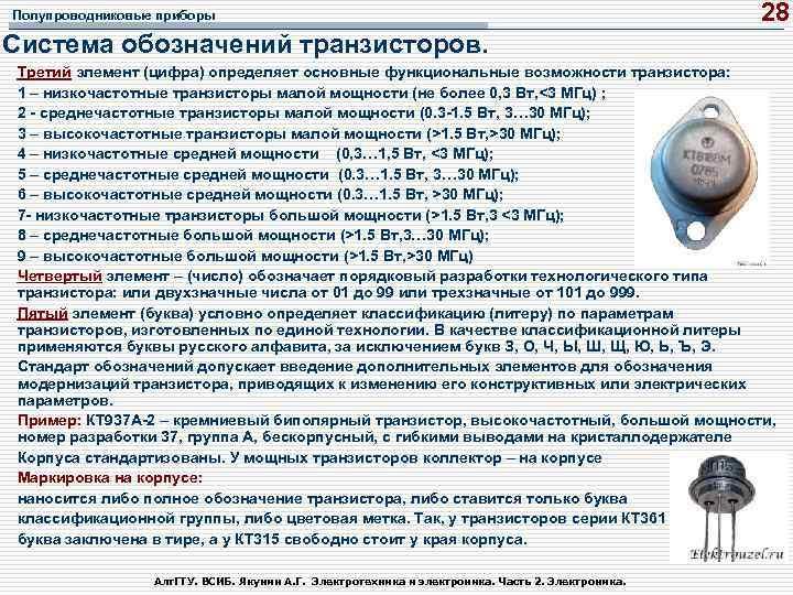 Полупроводниковые приборы 28 Система обозначений транзисторов. Третий элемент (цифра) определяет основные функциональные возможности транзистора: