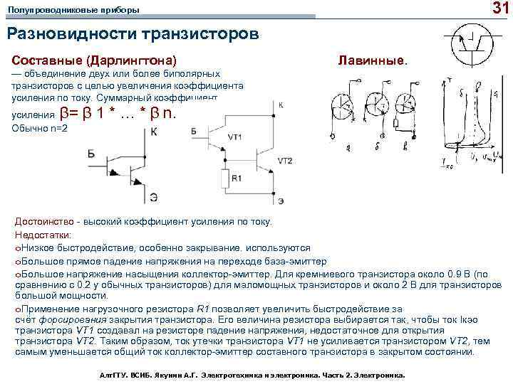 31 Полупроводниковые приборы Разновидности транзисторов Составные (Дарлингтона) Лавинные. — объединение двух или более биполярных
