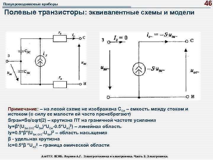 Полупроводниковые приборы Полевые транзисторы: эквивалентные схемы и модели Примечание: – на левой схеме не