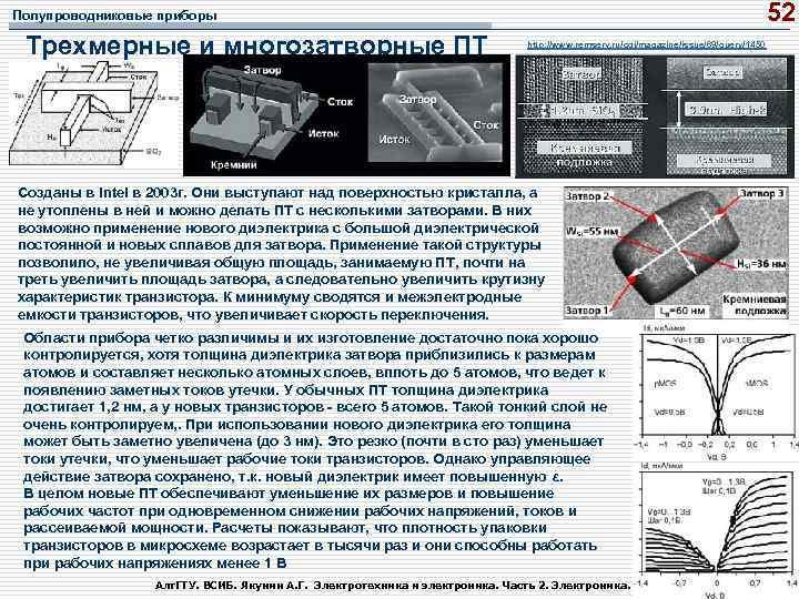 52 Полупроводниковые приборы Трехмерные и многозатворные ПТ http: //www. remserv. ru/cgi/magazine/issue/69/query/1450 Созданы в Intel