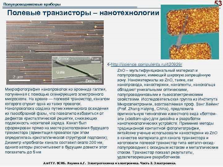 53 Полупроводниковые приборы Полевые транзисторы – нанотехнологии http: //science. compulenta. ru/420929/ Микрофотография нанопроволок из