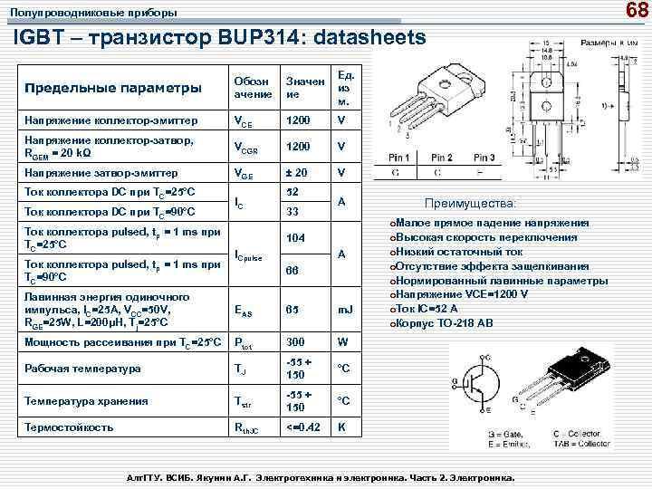 68 Полупроводниковые приборы IGBT – транзистор BUP 314: datasheets Предельные параметры Обозн ачение Значен