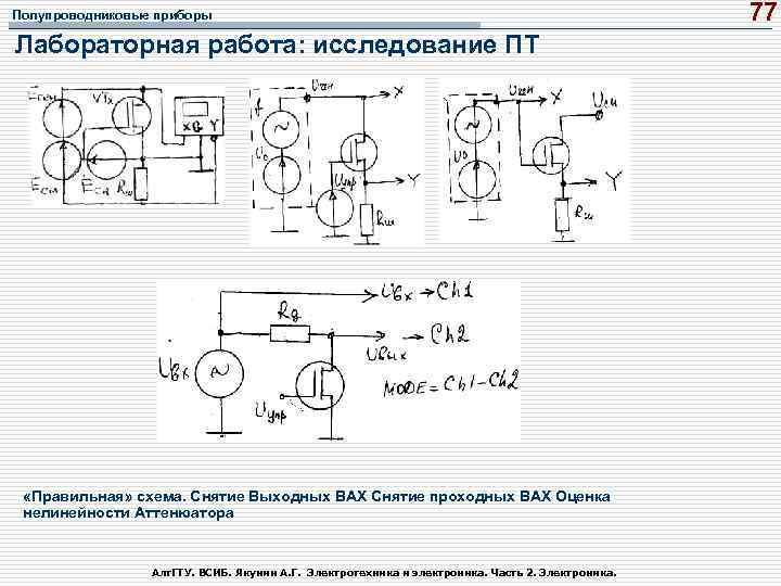 Полупроводниковые приборы Лабораторная работа: исследование ПТ «Правильная» схема. Снятие Выходных ВАХ Снятие проходных ВАХ