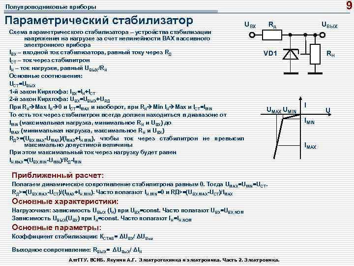 9 Полупроводниковые приборы Параметрический стабилизатор UВХ Схема параметрического стабилизатора – устройства стабилизации напряжения на
