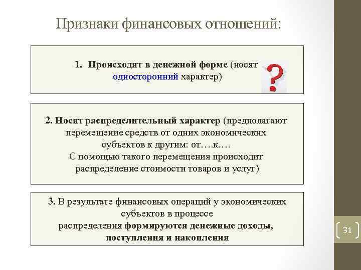 Признаки финансовых отношений: 1. Происходят в денежной форме (носят односторонний характер) 2. Носят распределительный