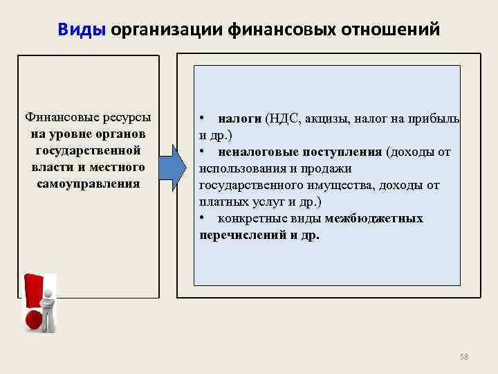 Виды организации финансовых отношений Финансовые ресурсы на уровне органов государственной власти и местного самоуправления