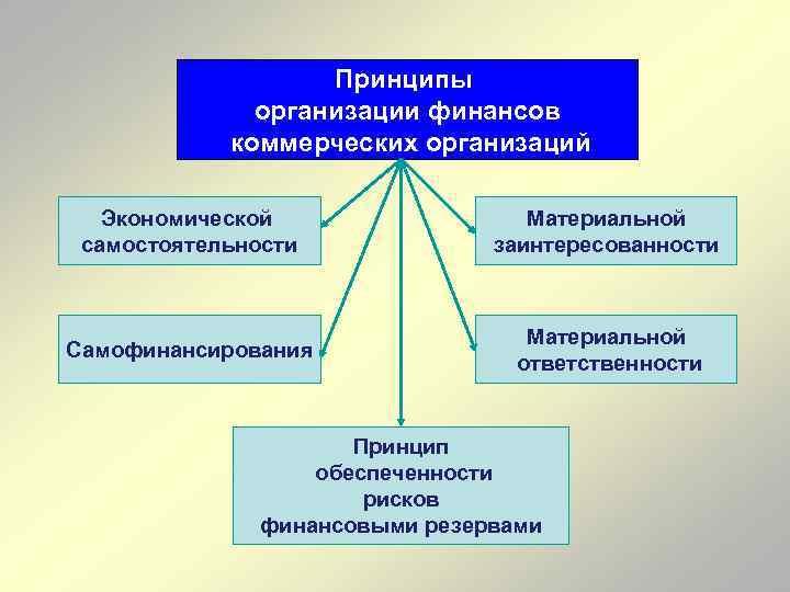 Принципы организации финансов коммерческих организаций Экономической самостоятельности Материальной заинтересованности Самофинансирования Материальной ответственности Принцип обеспеченности