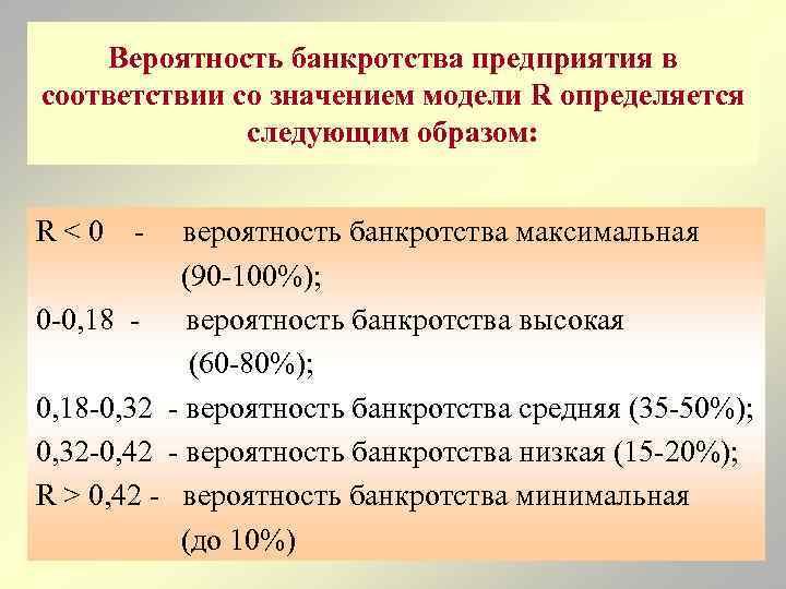 Вероятность банкротства предприятия в соответствии со значением модели R определяется следующим образом: R<0 -