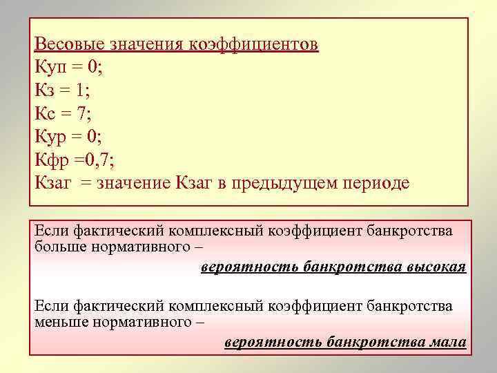 Весовые значения коэффициентов Куп = 0; Кз = 1; Кс = 7; Кур =