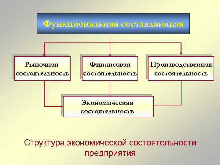 Функциональная составляющая Рыночная состоятельность Финансовая состоятельность Производственная состоятельность Экономическая состоятельность Структура экономической состоятельности предприятия