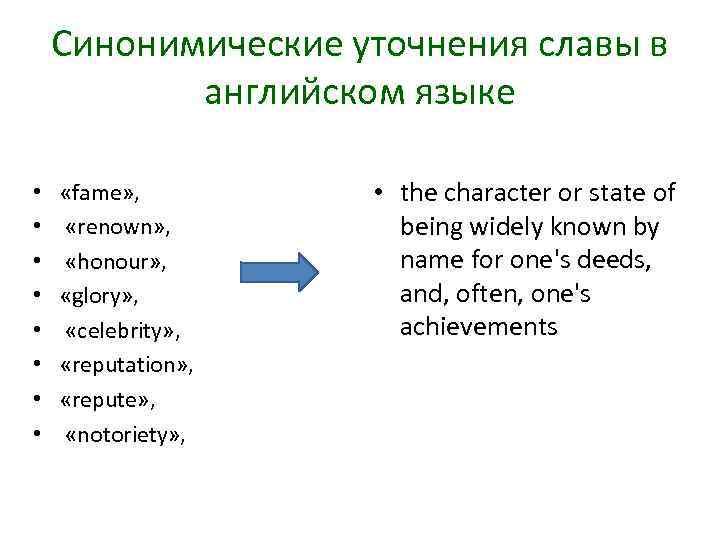 Синонимические уточнения славы в английском языке • • «fame» , «renown» , «honour» ,