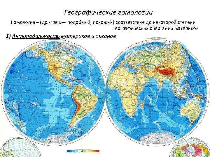 Географические гомологии Гомология – (др. -греч. — подобный, похожий) соответствие до некоторой степени географических