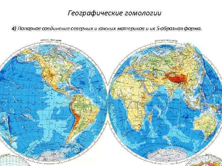 Географические гомологии 4) Попарное соединение северных и южных материков и их S-образная форма.