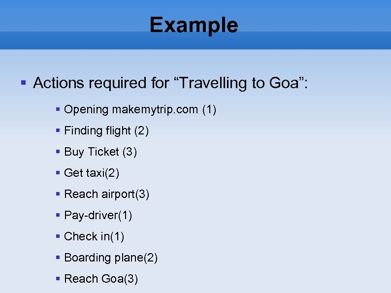 "Example Actions required for ""Travelling to Goa"": Opening makemytrip. com (1) Finding flight (2)"