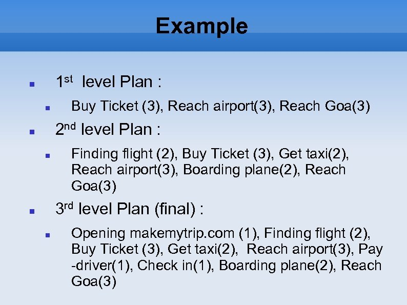 Example 1 st level Plan : Buy Ticket (3), Reach airport(3), Reach Goa(3) 2