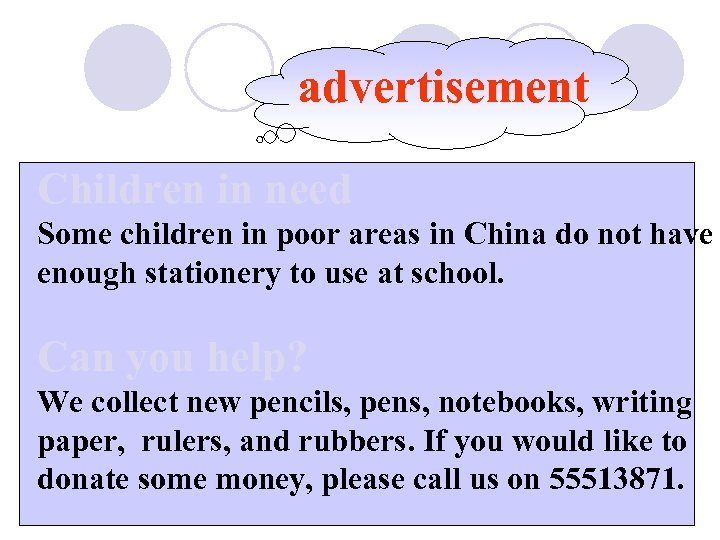 advertisement Children in need Some children in poor areas in China do not have