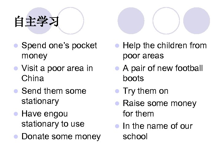 自主学习 l l l Spend one's pocket money Visit a poor area in China