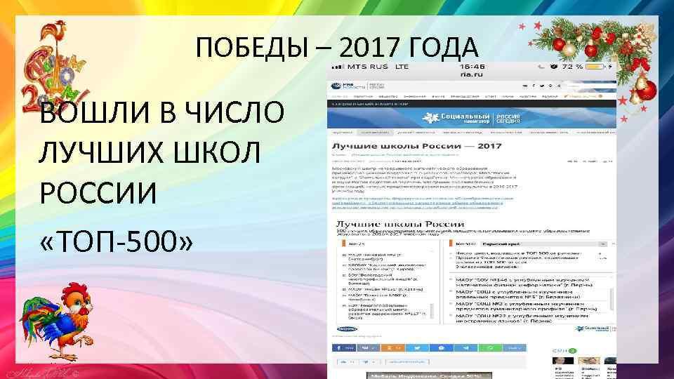 ПОБЕДЫ – 2017 ГОДА ВОШЛИ В ЧИСЛО ЛУЧШИХ ШКОЛ РОССИИ «ТОП-500»