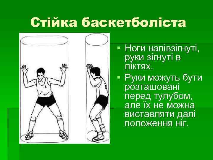 Стійка баскетболіста § Ноги напівзігнуті, руки зігнуті в ліктях. § Руки можуть бути розташовані