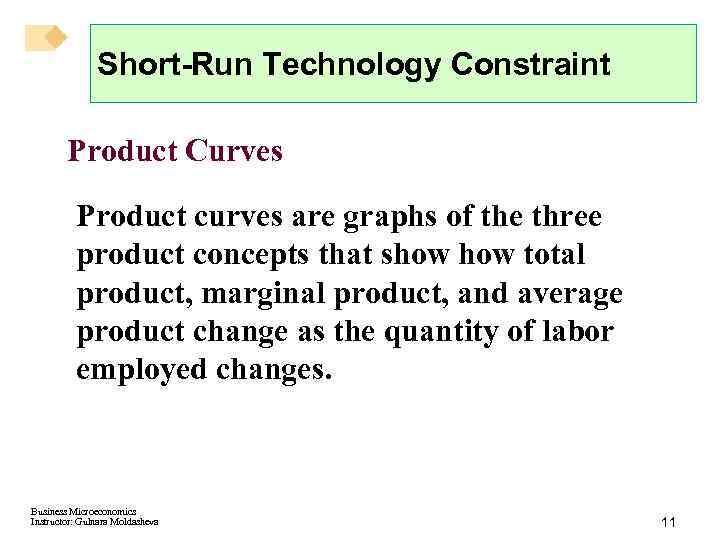 Short-Run Technology Constraint Product Curves Product curves are graphs of the three product concepts