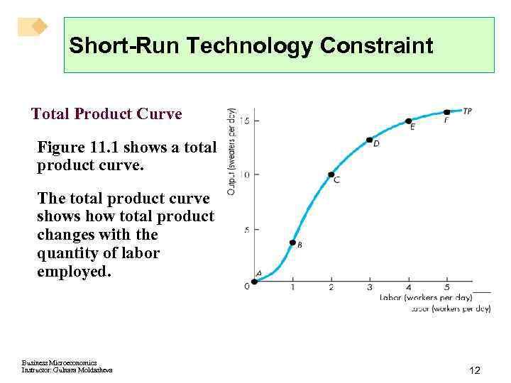 Short-Run Technology Constraint Total Product Curve Figure 11. 1 shows a total product curve.