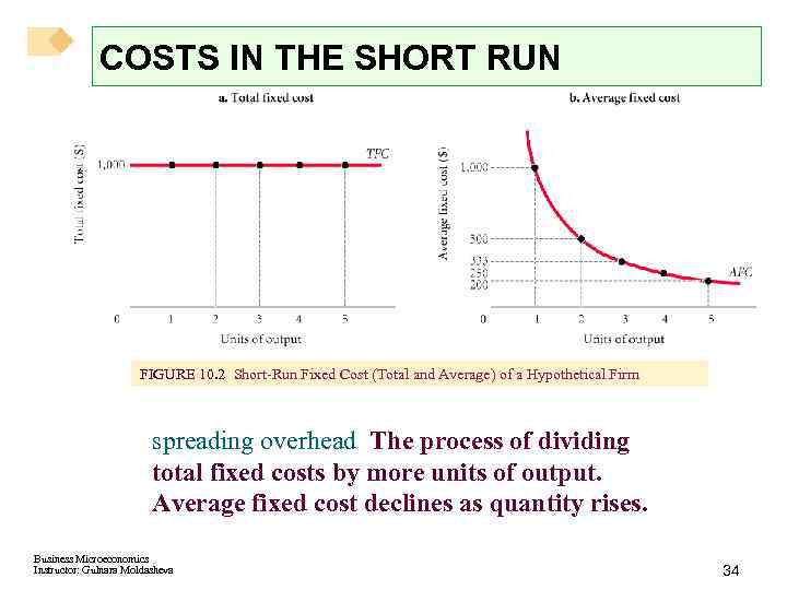 COSTS IN THE SHORT RUN FIGURE 10. 2 Short-Run Fixed Cost (Total and Average)