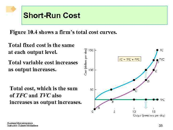 Short-Run Cost Figure 10. 4 shows a firm's total cost curves. Total fixed cost